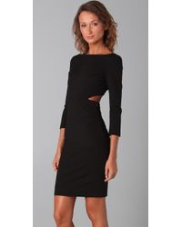 Halston | Black Long Sleeve Cutout Dress | Lyst