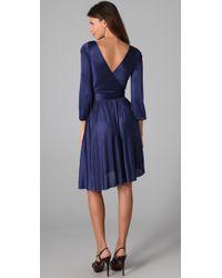 Halston   Blue Long Sleeve Wrap Dress   Lyst