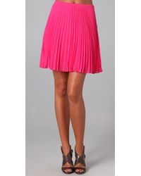 Halston | Pink Short Pleated Skirt | Lyst