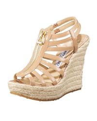 Jimmy Choo | Black Palermo Zipfront Cage Espadrille | Lyst