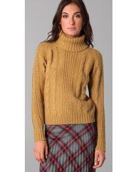 Le Mont St Michel - Natural Cable Knit Turtleneck Sweater - Lyst