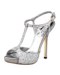 Miu Miu | Metallic Glitter T-strap Peep-toe Sandal, Silver | Lyst
