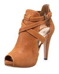 Prada | Brown Multi-buckle Peep Toe Bootie | Lyst