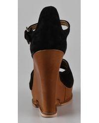 Sam Edelman | Black Javi Cutout Wedge Sandals | Lyst