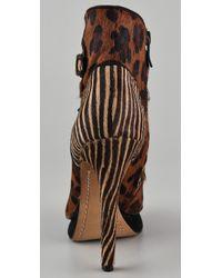 Sam Edelman | Brown Uma Lace Up Animal Print High Heel Ankle Boot | Lyst