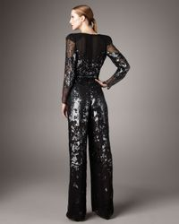 Stella McCartney | Black Plunging-v Sequined Jumpsuit | Lyst