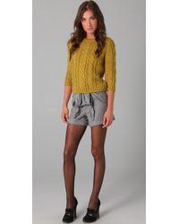 Tibi - Green Chunky 3/4 Sleeve Sweater - Lyst