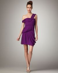 Vera Wang Lavender Purple Off-the-shoulder Chiffon Dress