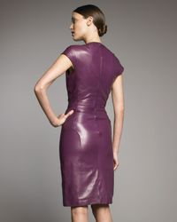 Saint Laurent | Purple Cap-sleeve Leather Dress | Lyst