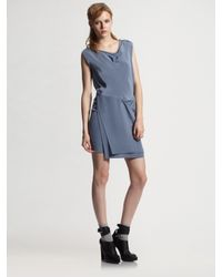 3.1 Phillip Lim - Blue Faux Wrap Dress - Lyst