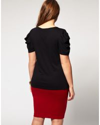 ASOS Collection - Black Asos Curve Jersey Top with Puff Sleeves - Lyst
