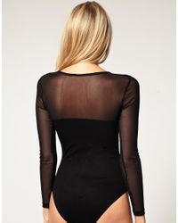 ASOS Collection - Black Asos Petite Exclusive Long Sleeve Body with Mesh Detail - Lyst