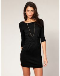 ASOS Collection - Black Asos Round Neck Pleat Waist Knitted Dress - Lyst