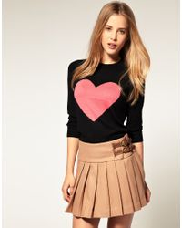 ASOS Collection | Black Asos Angora Jumper with Heart | Lyst