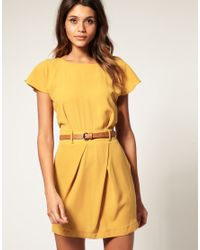 ASOS Collection | Yellow Asos Mini Tulip Dress with Flute Sleeves | Lyst