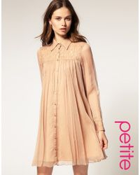 ASOS Collection - Natural Asos Petite Swing Dress in Lace Chiffon - Lyst