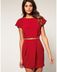 ASOS Collection | Red Asos Petite Mini Tulip Dress with Flute Sleeves | Lyst