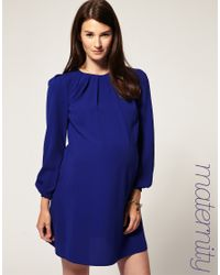 ASOS Collection | Blue Asos Maternity Shift Dress with Bell Sleeves | Lyst