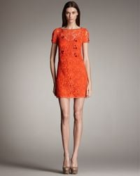 Blumarine | Orange Short-sleeve Lace Shift Dress | Lyst