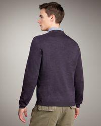 Brunello Cucinelli | Purple Tipped Crewneck Sweater, Eggplant for Men | Lyst