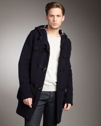 Burberry Brit - Blue Toggle-front Hooded Coat for Men - Lyst