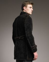Burberry Prorsum | Brown Sheepskin Pea Coat for Men | Lyst