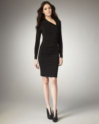 David Meister | Black Asymmetric-neck Jersey Dress | Lyst