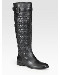 Dior | Black Leather Cannage Riding Boots | Lyst