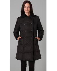 DKNY - Black Double Breasted Puffer Coat - Lyst