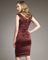 Dolce & Gabbana - Brown Ruched Satin Dress - Lyst