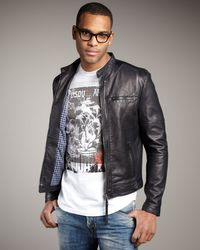 DSquared² - Blue Leather Bomber Jacket for Men - Lyst