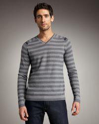 Elie Tahari | Gray Benton Striped Merino Sweater for Men | Lyst