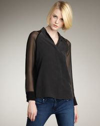 Equipment - Black Quinn Silk Chiffon-sleeve Blouse - Lyst