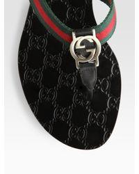 Gucci   Black Gg Thong Flats   Lyst