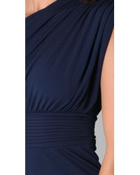 Halston | Blue One Shoulder Gathered Dress | Lyst