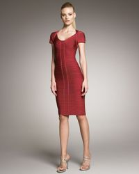 Hervé Léger | Red Knee-length Bandage Dress | Lyst