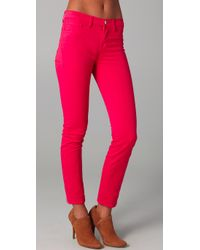 J Brand | Pink Twisted Tiedye Midrise Skinny Jeans | Lyst