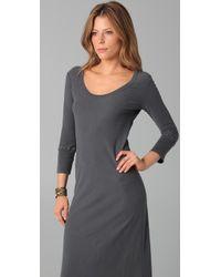 James Perse - Gray 3/4 Sleeve Maxi Dress - Lyst