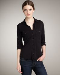 James Perse | Black Button-down Blouse | Lyst