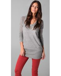 James Perse | Gray Scoop Neck Tunic Sweater | Lyst