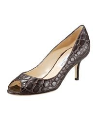 Jimmy Choo | Brown Croc-embossed Peep-toe Pump | Lyst