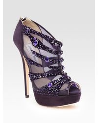 Jimmy Choo | Purple Kiln Crystal-covered Mesh and Suede Ankle Boots | Lyst