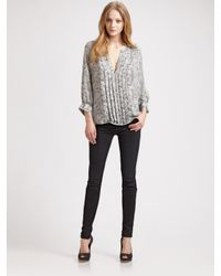 Joie | Black Binney Silk Leopard-print Top | Lyst