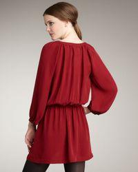 Joie   Red Molly Cross-front Silk Dress   Lyst