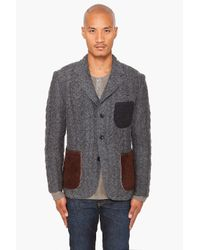 Junya Watanabe - Gray Patchy Knit Blazer for Men - Lyst