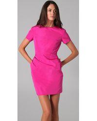 Katie Ermilio | Pink Cutout Ruffle Mini Dress | Lyst