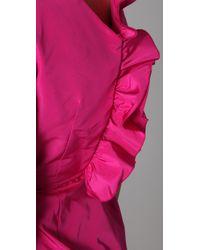 Katie Ermilio - Pink Cutout Ruffle Mini Dress - Lyst
