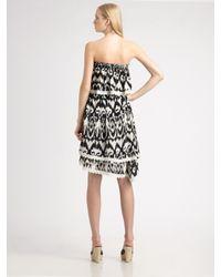 Love Sam - Black Ikat Strapless Dress - Lyst