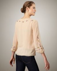 Nanette Lepore - Natural Embroidered Silk Blouse - Lyst