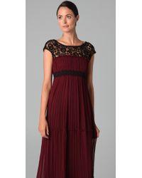 Philosophy di Alberta Ferretti | Black Crochet Trim Long Dress | Lyst